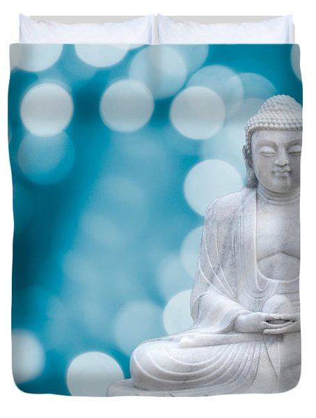 Buddha Enlightenment Blue Duvet Cover by Hannes Cmarits