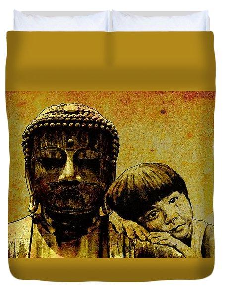 buddha girl Duvet Cover by Richard Tito