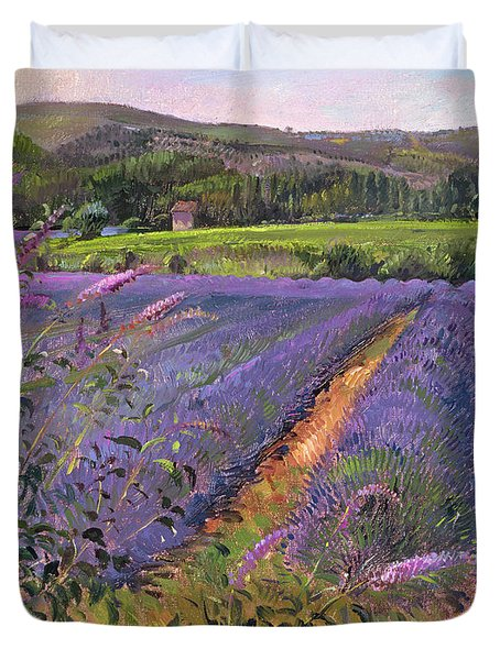 Buddleia And Lavender Field Montclus Duvet Cover by Timothy Easton