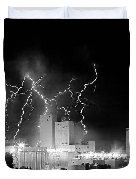 Budweiser Lightning Thunderstorm Moving Out BW Pano Duvet Cover by James BO  Insogna