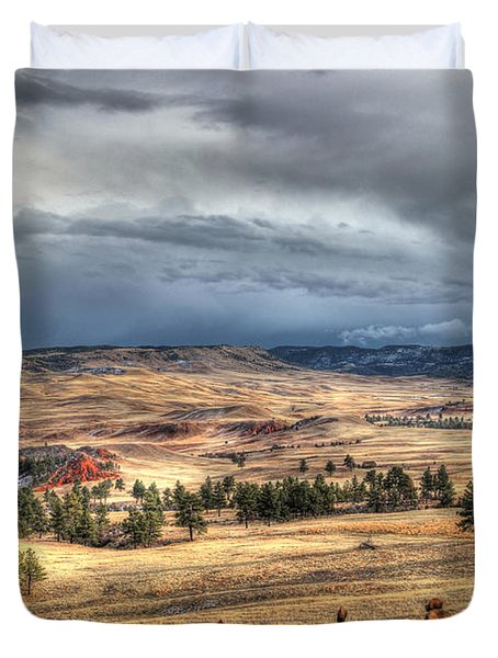 Duvet Cover featuring the photograph Buffalo Before The Storm by Bill Gabbert