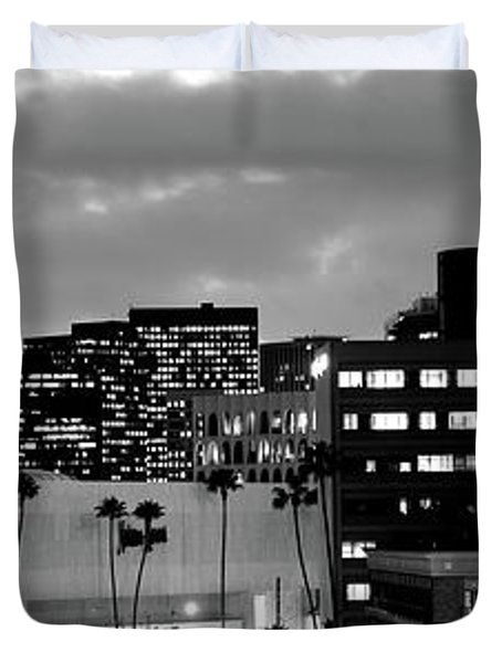 Building Lit Up At Night In A City Duvet Cover by Panoramic Images