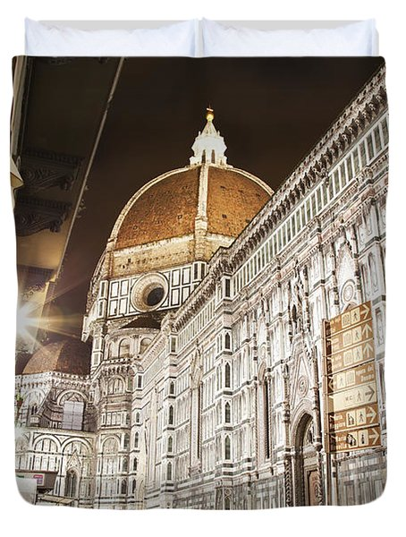 Buildings And Florence Cathedral Duvet Cover by Alexander Macfarlane