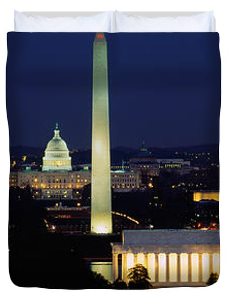 Buildings Lit Up At Night, Washington Duvet Cover by Panoramic Images