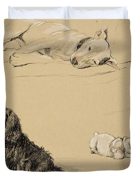 Bull-terrier, Spaniel And Sealyhams Duvet Cover by Cecil Charles Windsor Aldin