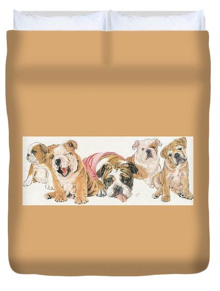 Bulldog Puppies Duvet Cover by Barbara Keith