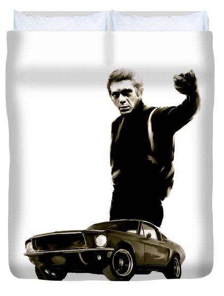 Bullet Cool  Steve McQueen Duvet Cover by Iconic Images Art Gallery David Pucciarelli