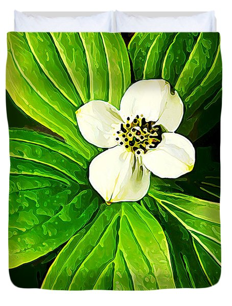 Bunchberry Blossom Duvet Cover by Bill Caldwell -        ABeautifulSky Photography