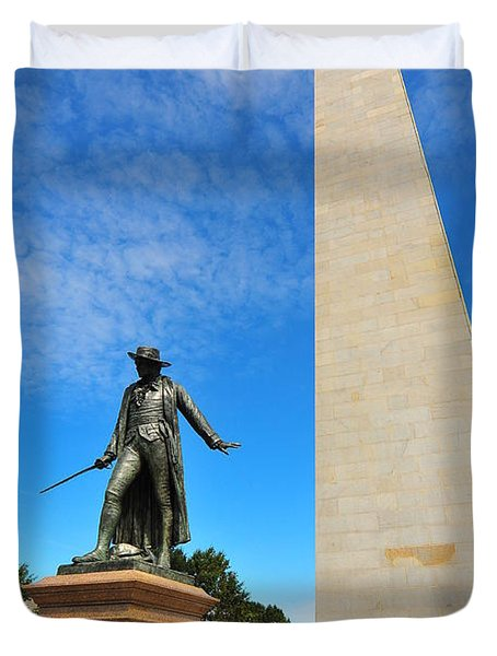 Bunker Hill Monument Duvet Cover by Catherine Reusch  Daley