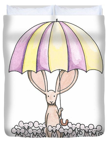 Bunny with Umbrella Duvet Cover by Christy Beckwith