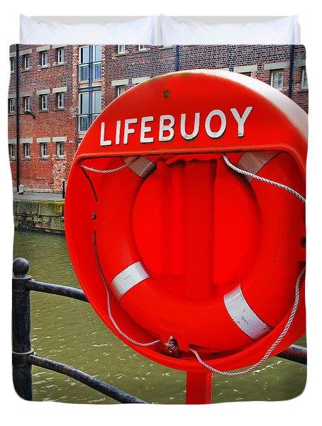 Buoy foam lifesaving ring Duvet Cover by Luis Alvarenga
