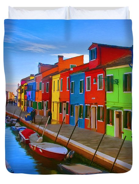 Burano Island In The Venetian Lagoon Duvet Cover by Michael Pickett