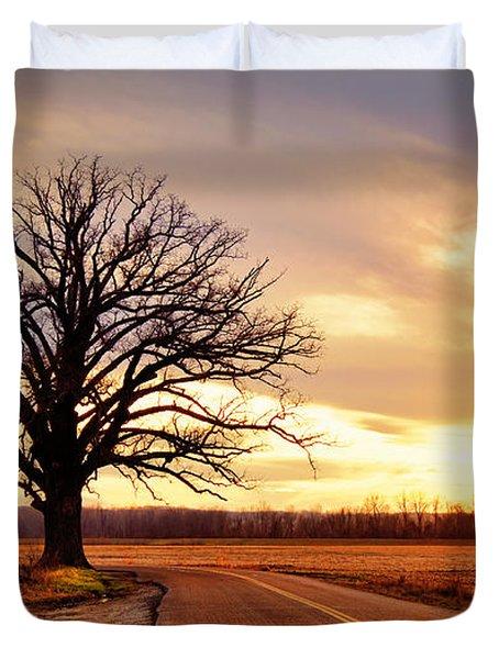 Burr Oak Silhouette Duvet Cover by Cricket Hackmann