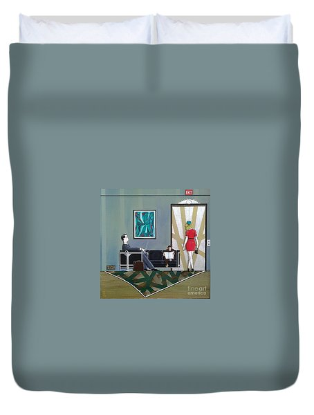 Businessman Sitting In Chair Reading A Newspaper Duvet Cover by John Lyes