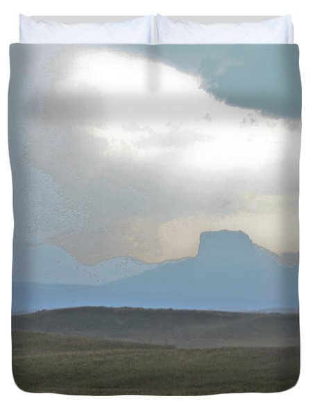 Butte In The Distance Duvet Cover by David Kehrli