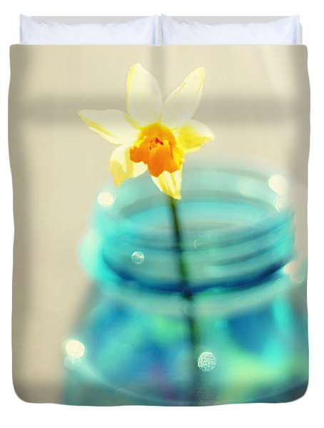Buttercup Photography - Flower In A Mason Jar - Daffodil Photography - Aqua Blue Yellow Wall Art  Duvet Cover by Amy Tyler