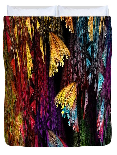 Butterflies on the Curtain Duvet Cover by Klara Acel
