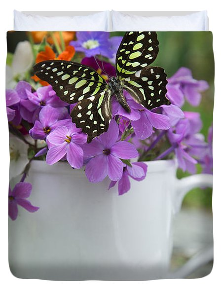 Butterfly And Wildflowers Duvet Cover by Edward Fielding