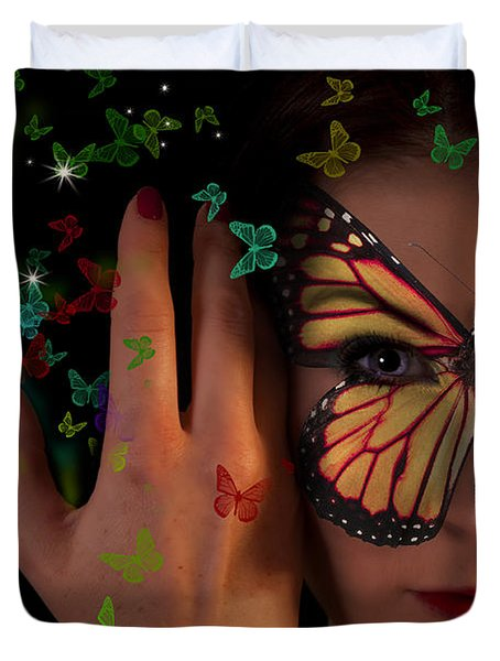 Butterfly Girl Duvet Cover by Nathan Wright