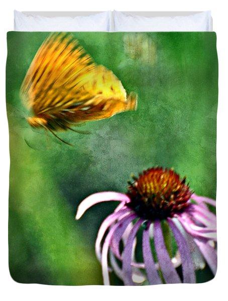Butterfly In Flight Duvet Cover by Marty Koch