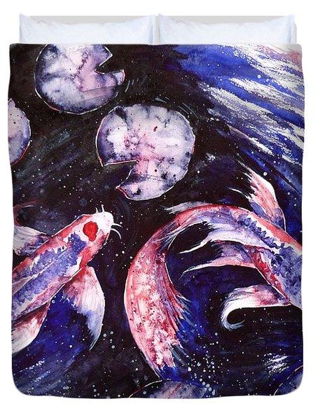 Butterfly Kois Duvet Cover by Zaira Dzhaubaeva