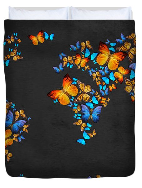 Butterfly Map Duvet Cover by Mark Ashkenazi
