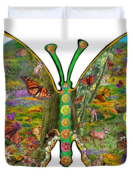 Butterfly Meadow Green Duvet Cover by Alixandra Mullins