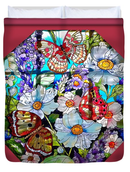 Butterfly Octagon Stained Glass Window Duvet Cover by Thomas Woolworth