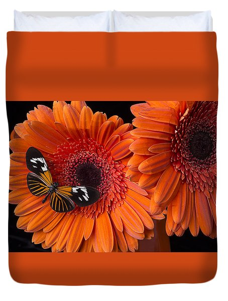 Butterfly on orange mums Duvet Cover by Garry Gay