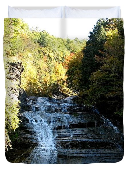 Buttermilk Falls Ithaca New York Duvet Cover by Rose Santuci-Sofranko