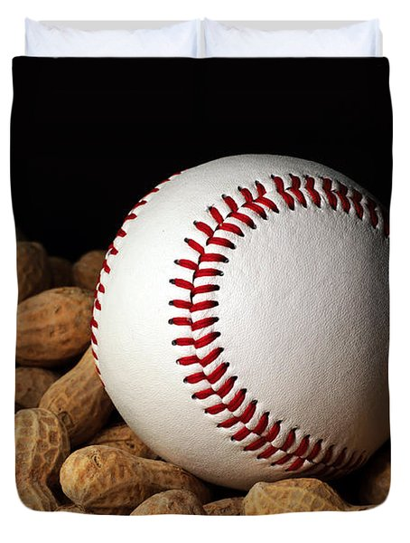 Buy Me Some Peanuts - Baseball - Nuts - Snack - Sport Duvet Cover by Andee Design