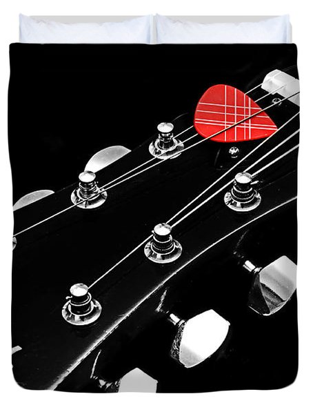BW Head Stock With Red Pick  Duvet Cover by Andee Design