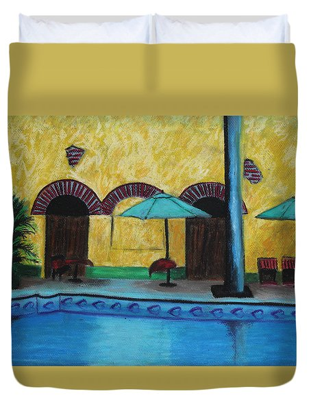 By The Poolside Duvet Cover by Jeanne Fischer