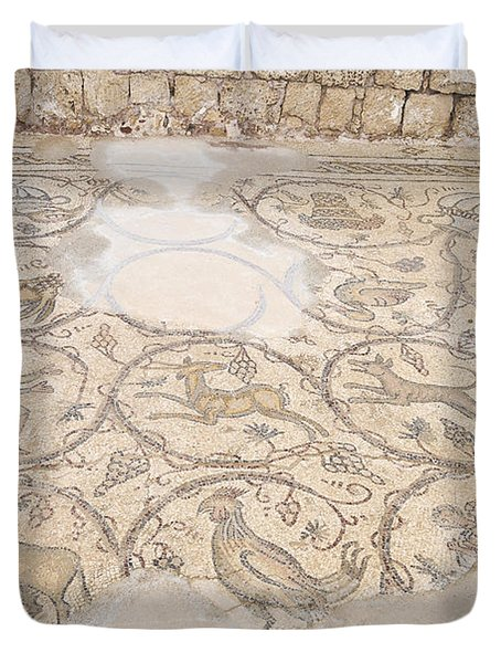 Byzantine Mosaic Depicting Animals And Hunting Scenes. Duvet Cover by Shay Levy