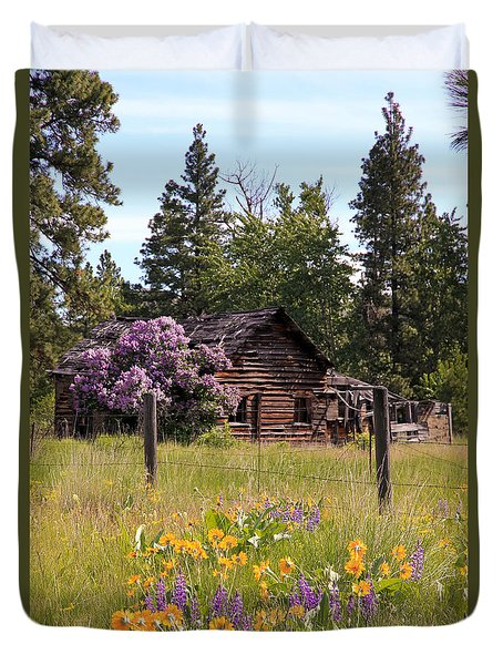 Cabin And Wildflowers Duvet Cover by Athena Mckinzie
