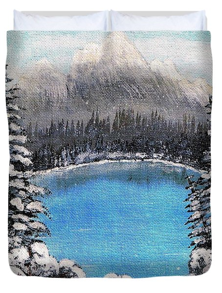 Cabin by the Lake - Winter Duvet Cover by Barbara Griffin