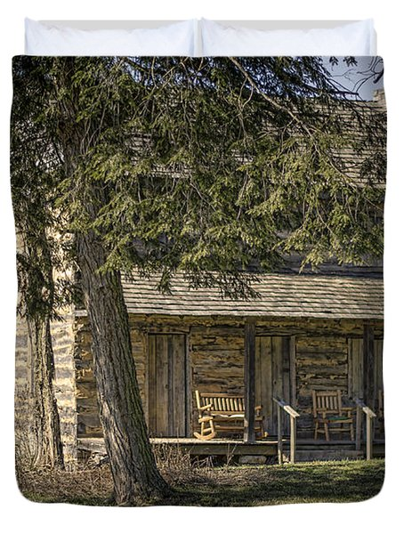 Cabin in the Wood Duvet Cover by Heather Applegate
