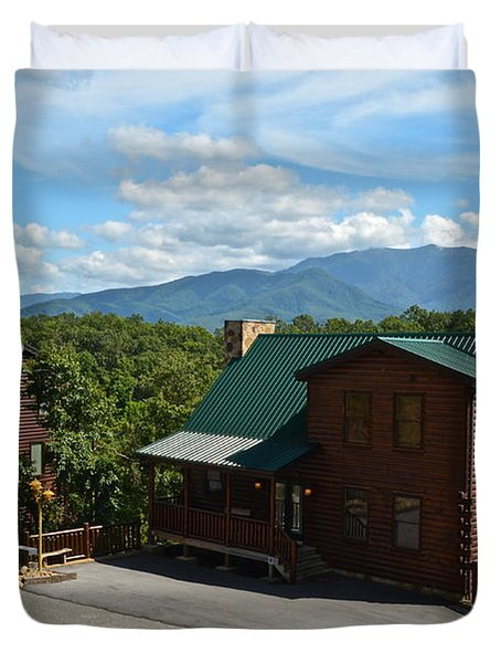 Cabins in the Smokies Duvet Cover by Frozen in Time Fine Art Photography