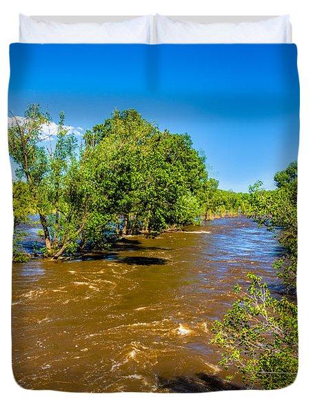 Cache La Poudre River Flooding Duvet Cover by Jon Burch Photography