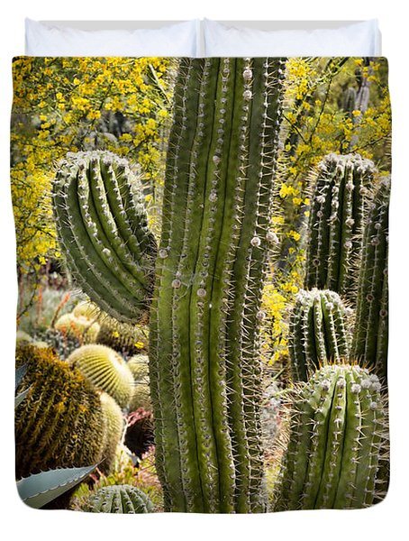 Cacti Habitat Duvet Cover by Kelley King
