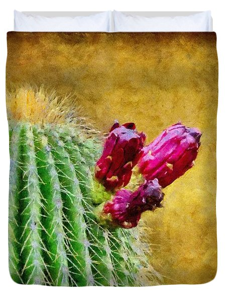 Cactus With Flowers Duvet Cover by Jeff Kolker