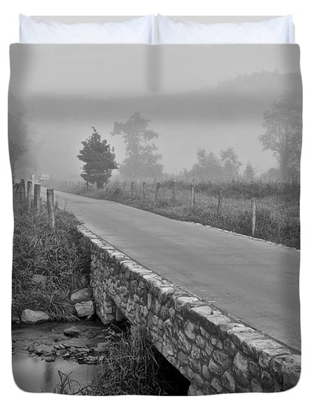 Cades Cove Black And White Duvet Cover by Frozen in Time Fine Art Photography