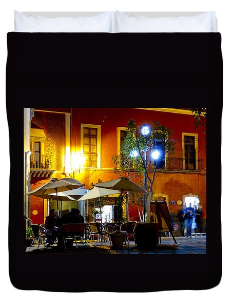 Cafe Evening Duvet Cover by Douglas J Fisher