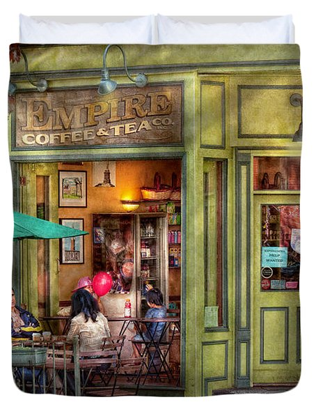 Cafe - Hoboken NJ - Empire Coffee and Tea Duvet Cover by Mike Savad