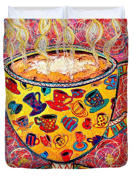 Cafe Latte - Coffee Cup With Colorful Coffee Cups Some Pink And Bubbles Duvet Cover by Ana Maria Edulescu