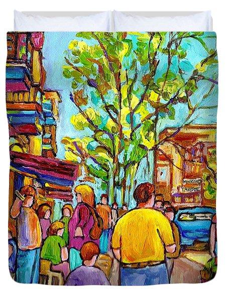 Cafes In Springtime Duvet Cover by Carole Spandau