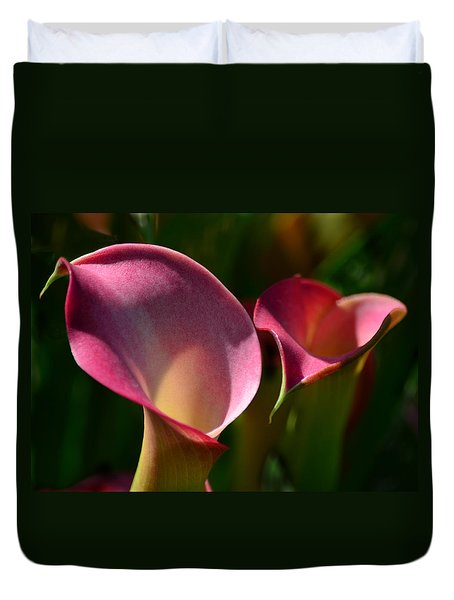Cala Lilies Light And Shadow Duvet Cover by Sandi OReilly