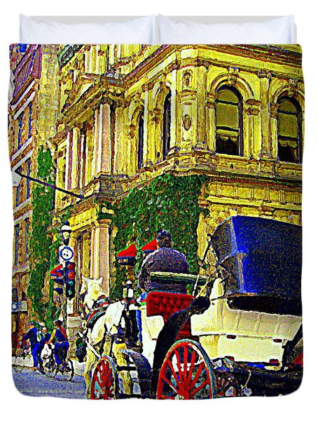 Caleche Ride By The Hotel Le St James Vieux Port Montreal Old World Charm And Elegance C Spandau Art Duvet Cover by Carole Spandau