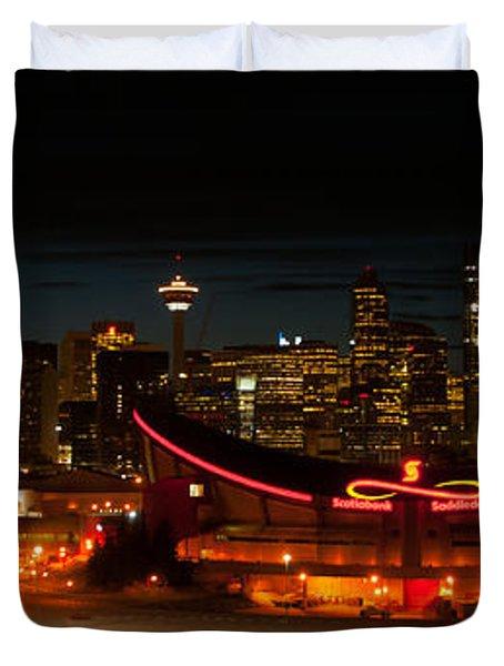 Calgary At Night Duvet Cover by Guy Whiteley