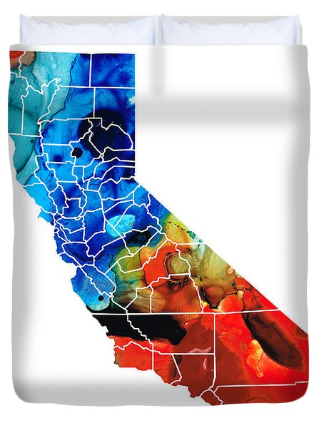 California - Map Counties by Sharon Cummings Duvet Cover by Sharon Cummings